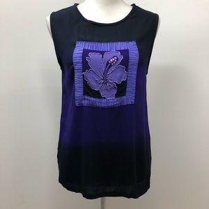 Midnight Velvet Chambray Floral Purple Top S